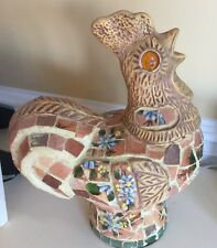 Large Country Farmhouse Rooster Mosaic Look Box Chicken French Heavy! Kitchen