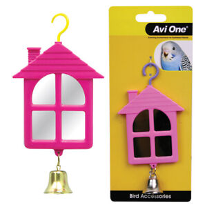 Avi One Hanging Toy House Shaped Mirror Budgie Finch Canary Conure Enrichment