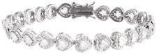 Sterling Silver 925 Womens CZ Cubic Zirconia Stone Bracelet 7mm Wide
