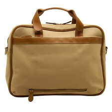 Home Works - Cream Canvas Laptop Briefcase Style Bag with Shoulder Strap