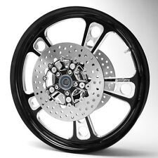 Front Black Custom Harley Wheel with Rotors for 14-17 Touring no/ABS