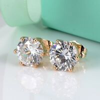 Unique ear stud 18k Yellow Gold Filled Earrings gemstone CZ Fashion Jewelry