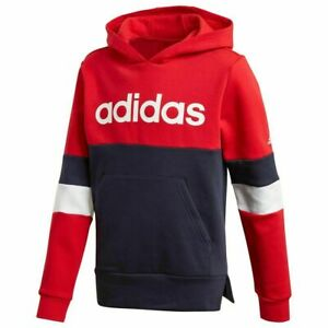 adidas boys red / navy linear hoodie with logo. Sweat top. 3-4Y & 13-14Y