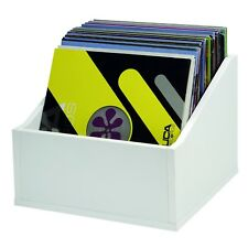 "Glorious White Record Box Advanced - Wooden Holder for 110 12"" Vinyl Records"