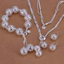 HOT beautiful Fashion 925 silver Pretty ball Earring Bracelet Necklace set S111