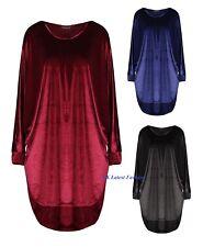 Ladies Womens Velvet Velour Batwing Long Sleeve Baggy Dress Oversized Hi Lo Top