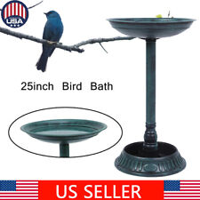 "25"" Height Pedestal Bird Bath Outdoor Garden Decor Vintage Yard Art Birdbath"