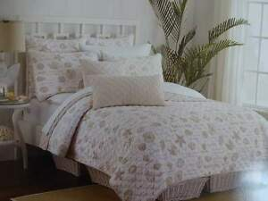 COASTAL Collection SEA SHELLS FRENCH Country BEIGE STRIPE TWIN QUILT SET 2PC
