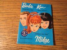 1962 Barbie, Ken, Midge Blue Fashion Pamphlet Book Outfits Fashion Clothes
