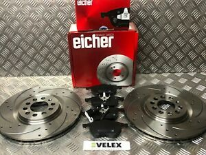 EICHER FRONT DRILLED & GROOVED DISCS & PADS AUDI TT 1.8T QUATTRO 225