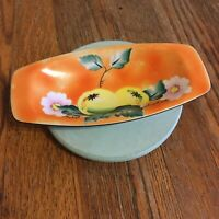 Vtg Gold Castle Chikusa Little Lemon wedge bowl Japan Hand Painted orange floral