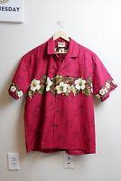 Vintage Winnie Fashion Hawaiian Mens Shirt Made in USA Hibiscus Red Aloha L
