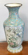 Fine Antique Chinese Canton Enamel Phoenix Bird Flower Rose Butterfly Vase 16""