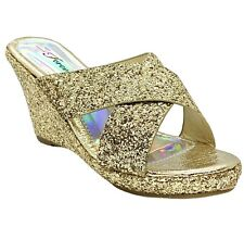 Forever Mikki-12 Women's Gold Pageant Dress Evening & Party Shoes size 10