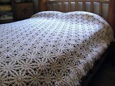 Vintage Ecru Crochet Star Flower Fringe Canopy Bedspread King Queen Full 86x88