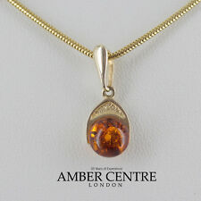 Italian Made Elegant Modern Amber Pendant in 9ct Gold -GP0068 RRP£65!!!