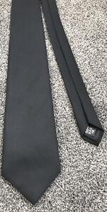 "Marks and Spencer black plain event smart solid formal polyester tie 3.6"" wide"