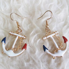 NEW Womens White Red Blue Anchor Chandelier Dangle Drop Gold-Tone Hook Earrings