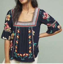 Anthropologie Dakota Embroidered Top Shirt Floral Ruffle Sleeve Tassel Sz XL