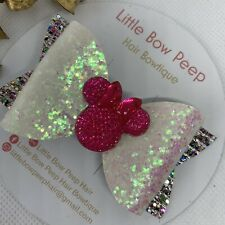 """🎀Handmade 3"""" Mickey & Minnie Mouse White & Pink Girls Hair Bow 🎀"""