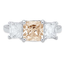 3.25ct Emerald Cut 3 stone Champagne Promise Bridal Wedding Ring 14k White Gold