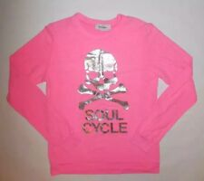 SOULCYCLE PINK LIGHTWEIGHT SWEATSHIRT PULLOVER SILVER SKULL LOUNGE YOGA EUC XS