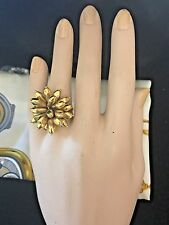 Designer 18k Y/Gold Large Articulated  Flower Movable Petals Ring Size 6.5 Italy