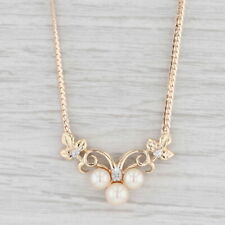 """Cultured Pearl Diamond V Necklace 14k Yellow Gold Curb Chain 17"""""""