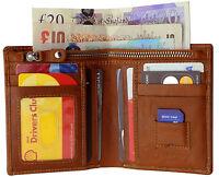 Mens Designer TOPSUM Genuine Top Grain Leather Zipper Wallet Purse 4016 Tan