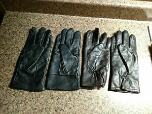 Lot of 2 Vintage Leather Womens Thinsulate Insulated Winter Warm Driving Gloves