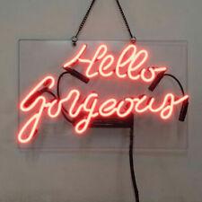 "13"" Hello Gorgeous Neon Sign Light Beer Bar Pub Lamp Glass Decor Artwork"