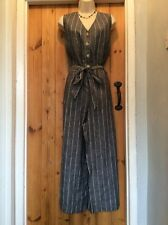 BNWT MARKS & SPENCER NAVY LINEN STRIPED CULOTTE  JUMPSUIT SIZE 20 NEXT STYLE