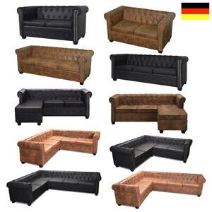 Chesterfield Sofa Couch Ecksofa Sofas Sessel Vintage Kunstleder 2/3 Sitzer NEU