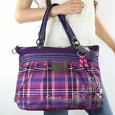 NEW Coach Poppy Hearts Glam Tartan Plaid Tote Shoulder Bag 15886 Multicolor RARE