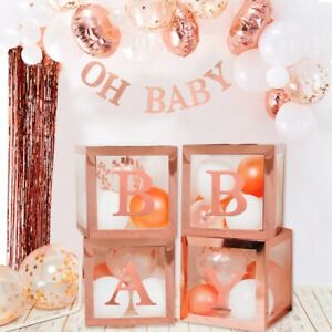 Rose Gold Balloon Box Clear Window Favor Baby Shower Boxes, Girl Decor