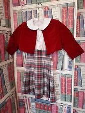 Vintage Child's Plaid Pleated Pennafore w/ Velvet Bolero Jacket and White Blouse