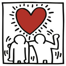 Untitled (Two Figures w/Heart), Giclee Print, Keith Haring