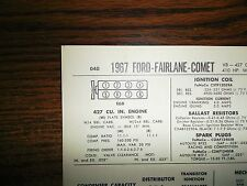 1967 Ford Mercury EIGHT Hi Performance 427 CI V8 w/4BBL or 2x4BBL Tune Up Chart
