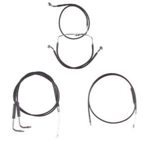 "Black +8"" Cable & Brake Line Bsc DD Kit 2006-2017 Harley-Davidson Dyna No ABS"