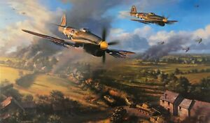 Typhoons at Falaise by Nicolas Trudgian autographed by Normandy Typhoon Pilots