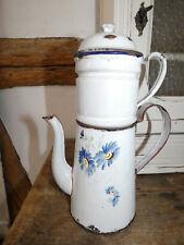 Sehr alte französische Kaffeekanne Kaffeebereiter aus Emaille, weiß m.Kornblumen