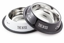 New listing New McSunley Stainless Steel 2 Piece No Skid Dog Bowl Set Black&White Food Water