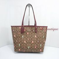 NWT Coach F80246 Reversible Tote Shoulder Bag PVC Party Animal Khaki Wine Multi