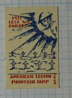 American Legion Mountian Camp Lest We Forget 1917 Patriotic Poster Stamps