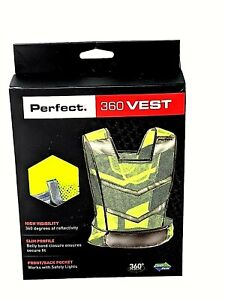 Perfect Fitness Reflective Safety Vest Yellow High Visibility Slim Profile NIP