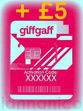 UK PAYG GIFFGAFF Triple SIM (Standard + Micro + Nano) + Free Postage + £5     -f