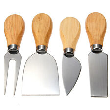 1Set/4Pcs Stainless Steel Oak Wood Handle Cheese Butter Blade Fork Kitchenware