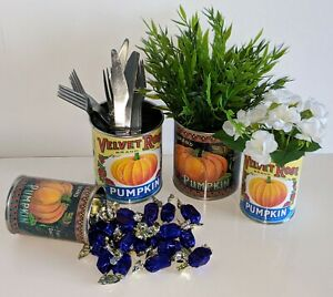 Vintage Halloween pumpkin tin can props trick or treat sweet holder decoration t