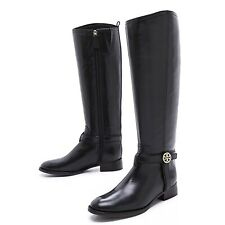 tory burch bristol knee high riding boots black 7.5 womens logo emblem leather