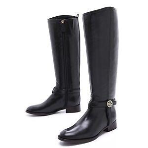 tory burch bristol knee high riding boots black 7.5 womens logo emblem leather